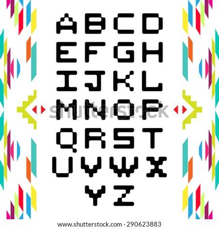 Style light bulb alphabet. Vector.American indian ethnic geometric seamless pattern. - stock vector