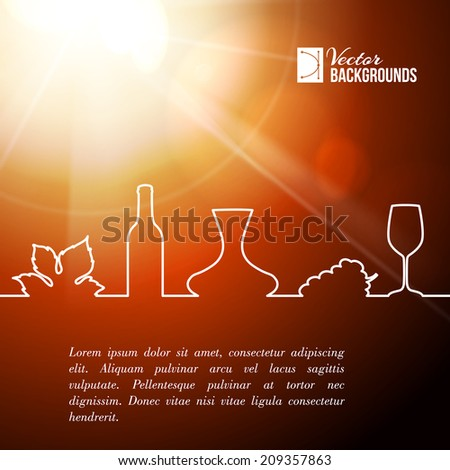 Style line of vine glass, bottle and grapes leaves. Vector illustration. - stock vector