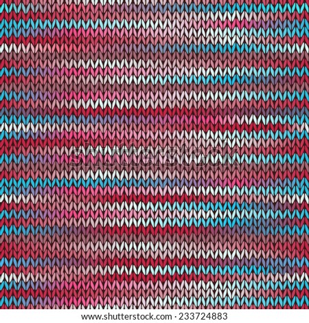 Style Seamless Knitted Melange Pattern. Blue Red Pink Color Vector Illustration - stock vector