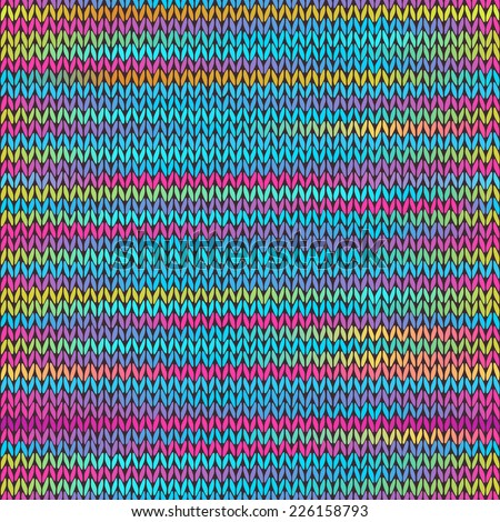 Style Seamless Knitted Melange Pattern. Blue Yellow Pink Color Vector Illustration - stock vector