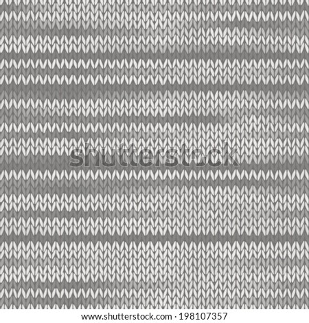 Style Seamless Knitted Melange Pattern. White Grey Color Vector Illustration - stock vector