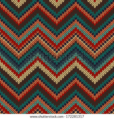 Style Seamless Knitted Pattern. Red Blue Brown Yellow Orange Color Illustration - stock vector