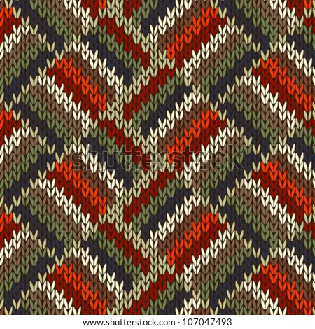 Style Seamless Knitted Pattern. Red Blue Green White Orange Color Illustration from my large Collection of Samples of knitted Fabrics - stock vector