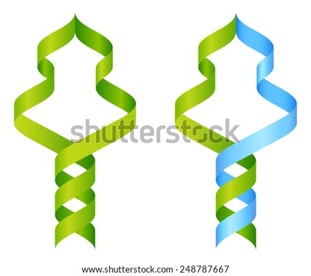 Stylised DNA tree icon concept of a DNA double helix growing into a tree or plant shape - stock vector