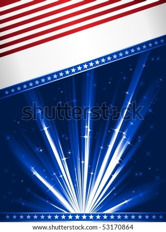 Stylised Stars and Stripes. Patriotic, 4th July celebration background. Use of linear gradients, global colors. Artwork grouped and layered. - stock vector
