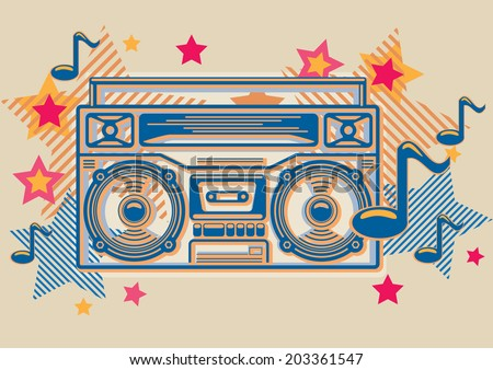 Stylised tape recorder with stars & notes - stock vector