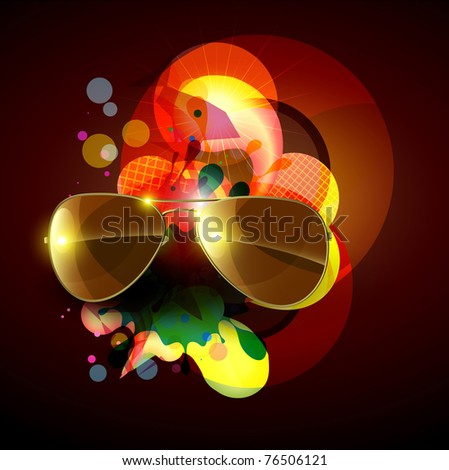 stylish abstract background with sunglasses - stock vector