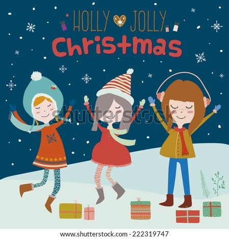 Stylish and bright Merry Christmas and New Year card in vector. Funny and smiling girls having fun and dancing at night in the snow. Cute winter holiday background. Holly Jolly Christmas. - stock vector