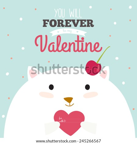 Stylish and bright, romantic and love greeting card in vector for Happy Valentines Day. Funny and cute cat congratulates all of the holidays. Typographic poster with cartoon illustration and wishes - stock vector