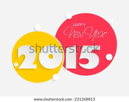 Stylish and colorful sticky on grey background for Happy New Year 2015 celebrations. - stock vector