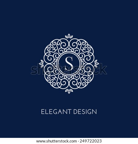 Stylish and elegant monogram design template with letter S. Vector illustration. - stock vector