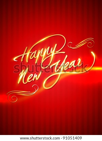 stylish artistic golden shiny happy new year illustration - stock vector