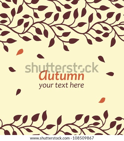 Stylish autumn leaf card. Seamless borders. Vector illustration - stock vector