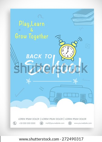Stylish Back to School template, banner or flyer design in blue and white color. - stock vector