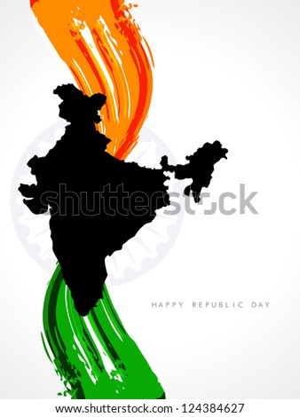 Stylish background for republic day with creative Indian flag design and Indian map. - stock vector