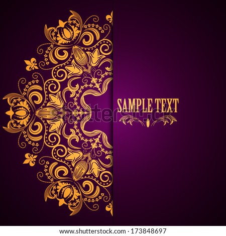 Stylish background with circular floral pattern and place for text. Vector illustration. - stock vector