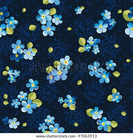 Stylish beautiful floral seamless pattern. Abstract Elegance vector illustration texture with forget-me-not. - stock vector