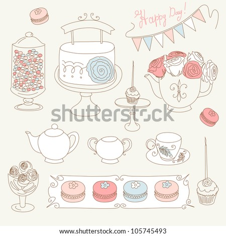 Stylish Birthday party set with bunting, cup cakes, roses, birthday cake, tea, candles and macaroons - stock vector