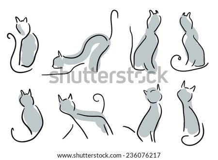 Stylish Black Cats Illustration  - stock vector