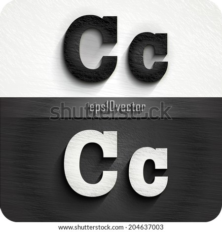 """stylish black, white  squared shabby alphabet letters. Uppercase letter """"C"""" and Lowercase  letter """"c"""". eps10. The rest of letters, symbols and numbers of the alphabet in my portfolio. - stock vector"""