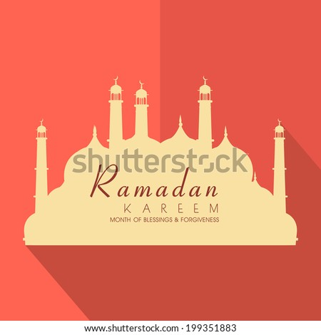 Stylish brown paper design in shape of mosque on folded orange background for holy month of Muslim community Ramadan Kareem.  - stock vector