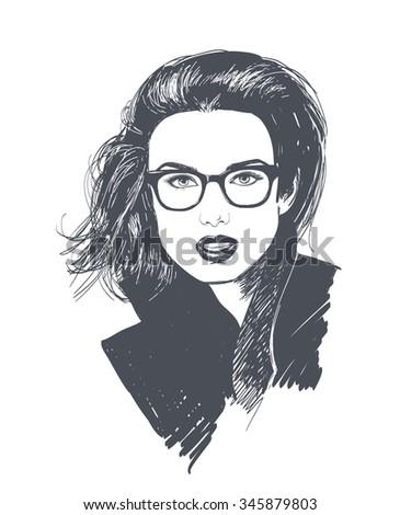 Stylish brunette woman in fashion sunglasses. Businessman. Stylish Girl. - stock vector