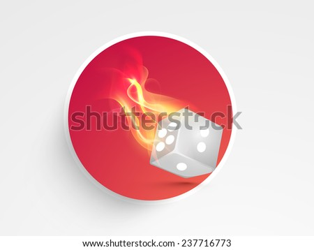 Stylish burning dice sticker, tag or label for casino concept on grey background. - stock vector