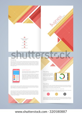 Stylish Business Brochure, Template or Flyer design with smartphone. - stock vector