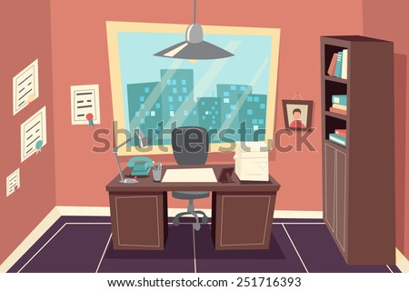 Office room stock photos images pictures shutterstock for Window design cartoon