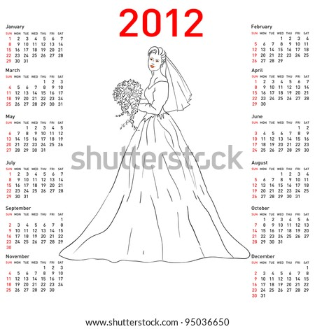 Stylish calendar Bride in wedding dress white with bouquet for 2012. Week starts on Sunday. Rasterized version also available in portfolio. - stock vector