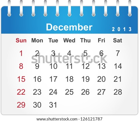 Stylish calendar page for December 2013 (week starts from Sunday) - stock vector