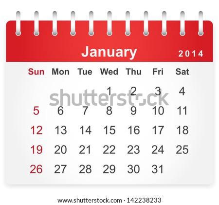 Stylish calendar page for January 2014 (week starts from Sunday) - stock vector
