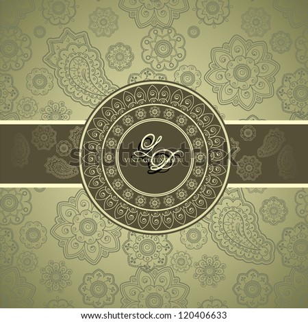 Stylish Card with Classical seamless wallpaper with Paisley and Floral Design - stock vector