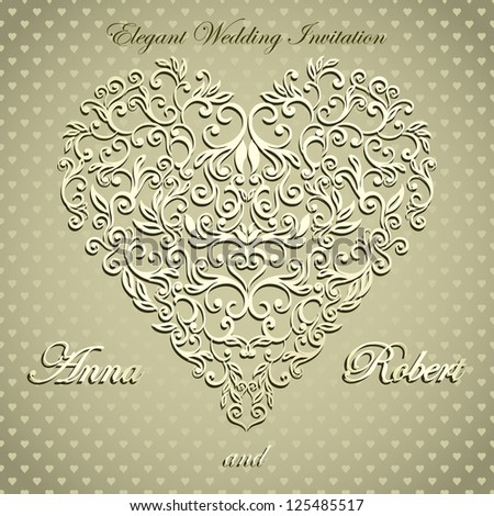 Stylish  Card with floral heart on seamless letter background - stock vector