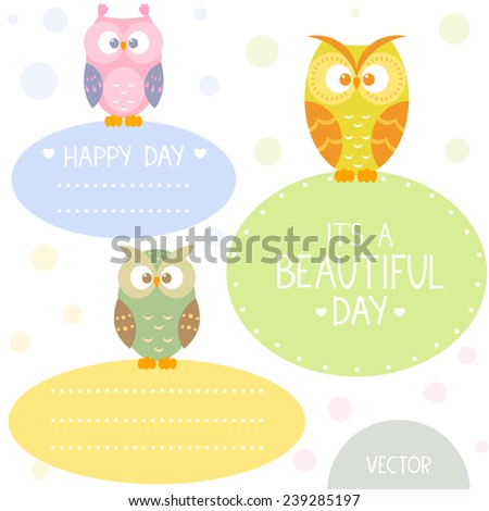 Stylish card with set cartoon beautiful and funny owls with place for text in flat style. Vector illustration - stock vector