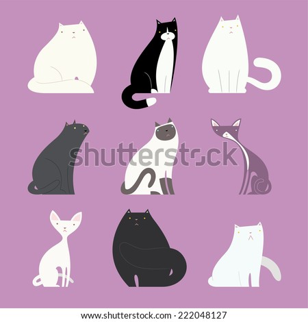 Stylish cat set, with different kittens like: white fat cat, black and white normal weight cat, white cat, grey cat, white and grey cat, white thin cat, black fat cat vector illustration.  - stock vector