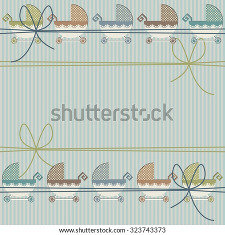 Stylish childish seamless pattern with cute baby carriage and bows. Vector template for your designs.  - stock vector