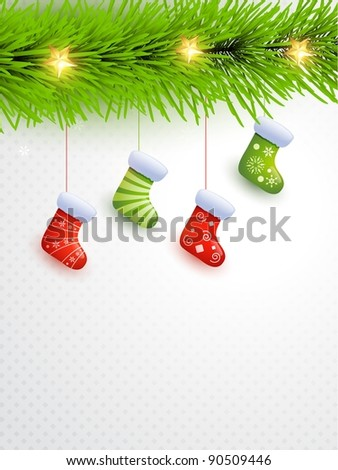 stylish christmas socks hanging vector illustration - stock vector