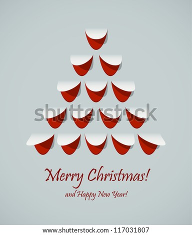 Stylish Christmas tree formed by cut paper. EPS10 vector. - stock vector