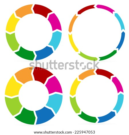 Stylish circular arrows, Segmented circles with colorful arrows - Circulation, process, info-graphics, procedure concepts. - stock vector