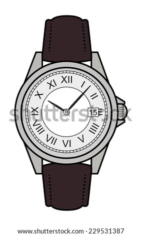 Stylish classic luxury mechanic business style elegant hand watches with roman numerals. Leather belt. Clip art. Color illustration isolated on white - stock vector
