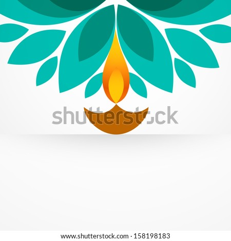 stylish colorful diwali diya design - stock vector