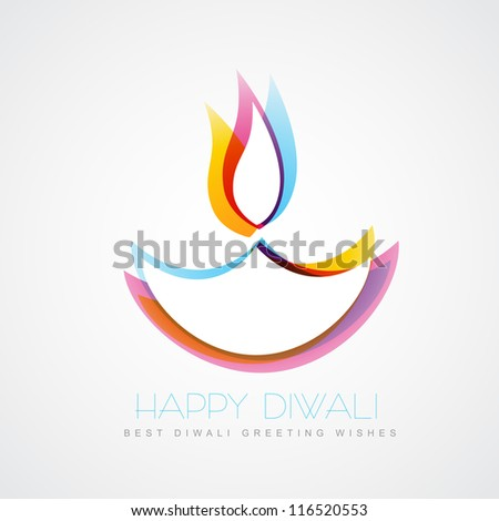 stylish colorful diwali diya isolated on white background - stock vector