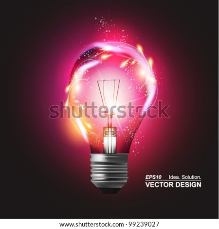 stylish conceptual digital light bulb design - stock vector