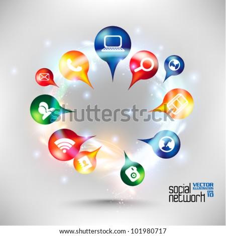 stylish conceptual social networking vector design - stock vector