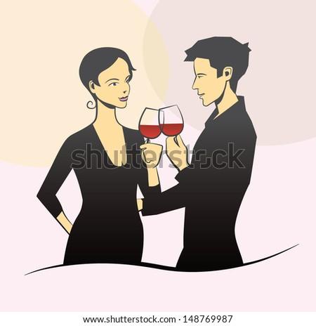 Stylish couple drinking wine - stock vector