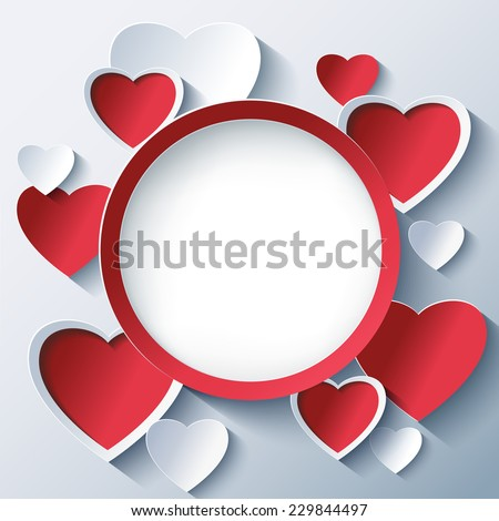 Stylish creative abstract background with red and white 3d cut paper hearts. Valentines Day frame with stylized hearts. Beautiful love card for Valentines day. Vector illustration. - stock vector