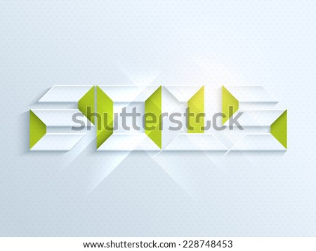 Stylish 3D text 2015 on shiny blue background, greeting card design for Happy New Year celebrations. - stock vector