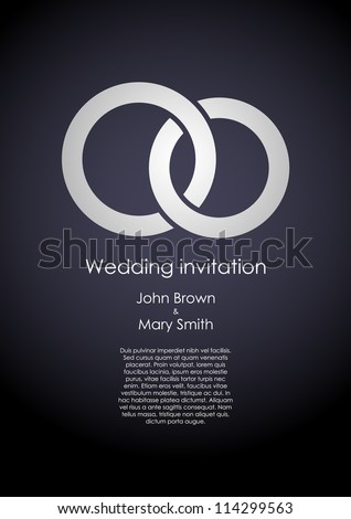Stylish dark wedding invitation template with white rings and sample text. EPS10 vector. - stock vector