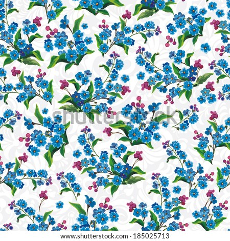 Stylish Decorative Blue seamless pattern. Elegance vector illustration texture with forget-me-not - stock vector